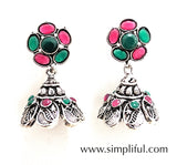 Colorful polki stone oxidized silver jhumka Earring - Simpliful