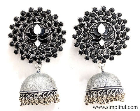 Extra Large Lotus stud oxidized jhumka Earring - Simpliful