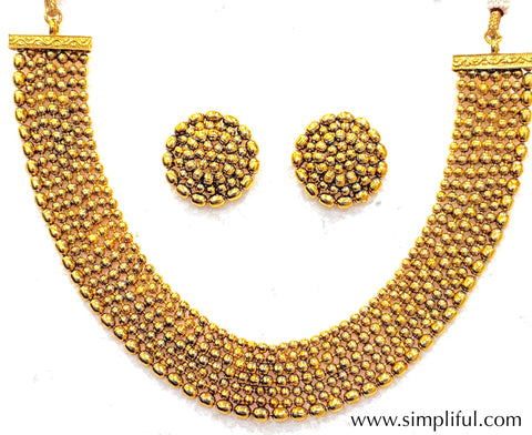 Multi stranded Gold ball bead choker Necklace and Earring set - Simpliful