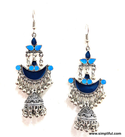 Oxidized silver with enamel work long hook drop Earring