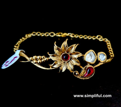 Sunflower Matte Gold finish Kundan stone embedded bangle link Bracelet