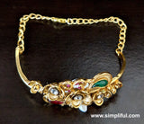 Flower Matte Gold finish Kundan stone embedded bangle link Bracelet - Simpliful