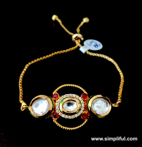 Oval Kundan stone embedded adjustable Bracelet