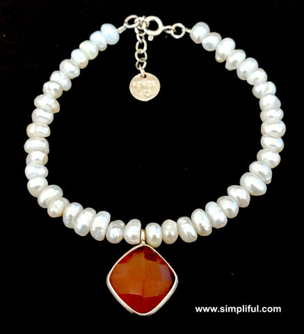 Sterling silver Natural pearl Bracelet