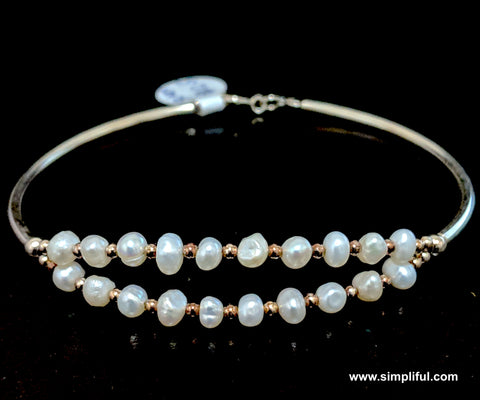 Sterling silver dual line Natural pearl bangle Bracelet