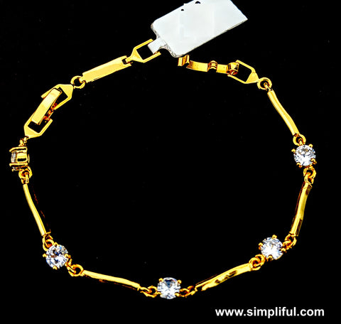 Round white Cz stone gold finish Bracelet