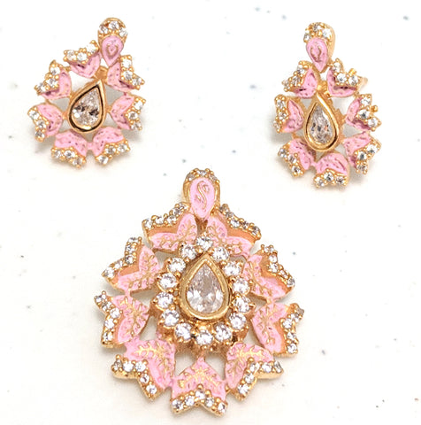 Mint meenakari finish tear drop CZ Pendant and Earring Set
