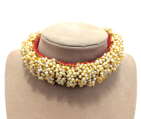 Pearl clustered on Red cotton thread Collar Necklace and Jhumka earring set