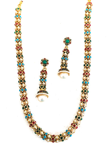 Unique tiny beaded bold Pipe Chain Necklace and Earring set