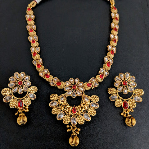 Traditional gold plated Ramleela choker Necklace and Earring set