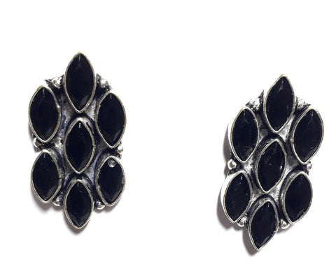 Oxidized seven stone stud Earrings