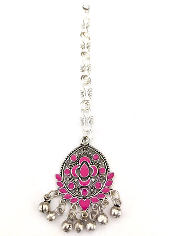 Oxidized enamel filled tear drop Maang Tikka