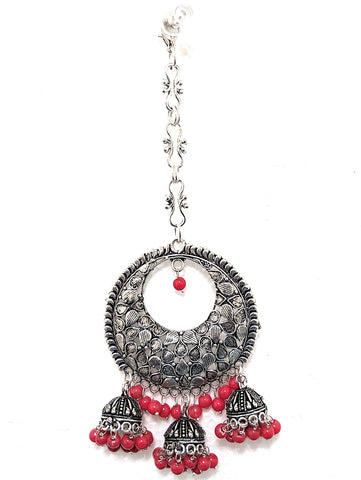 Oxidized large triple jhumka hanging hollow circle Maang Tikka