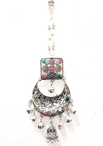 Oxidized small jhumka hanging long Maang Tikka