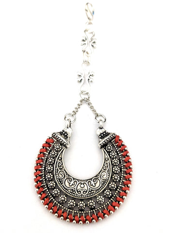 Oxidized thread wrapped arc Maang Tikka