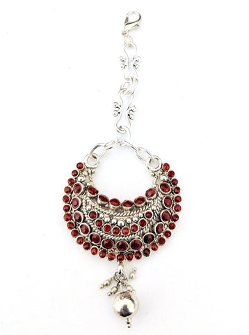 Oxidized dark red stone studded arc Maang Tikka