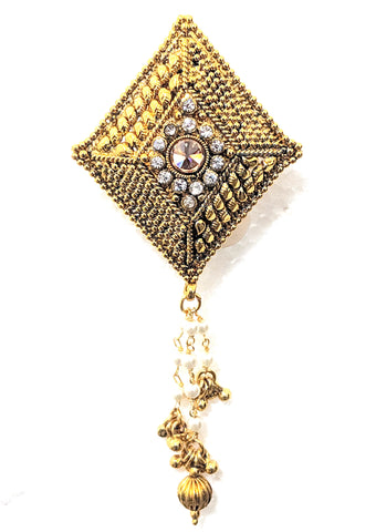 Traditional Gold plated Diamond tassel Brooch
