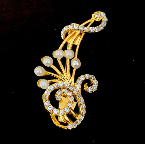 One gram gold plated CZ stone swirl Brooch
