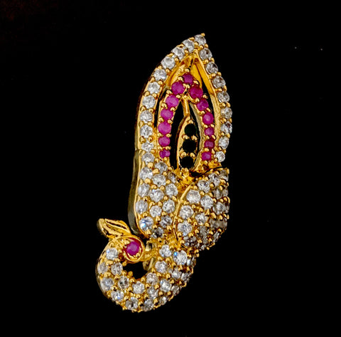 One gram gold plated CZ stone Peacock Brooch