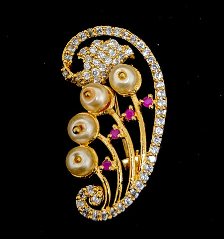 One gram gold plated CZ stone Swirl pearl Brooch