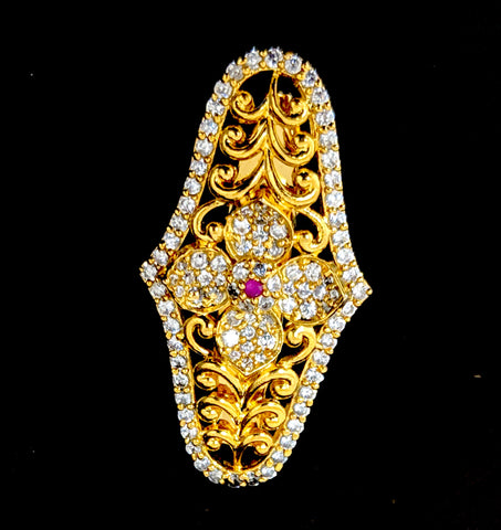 One gram gold plated CZ stone leafy flower Brooch