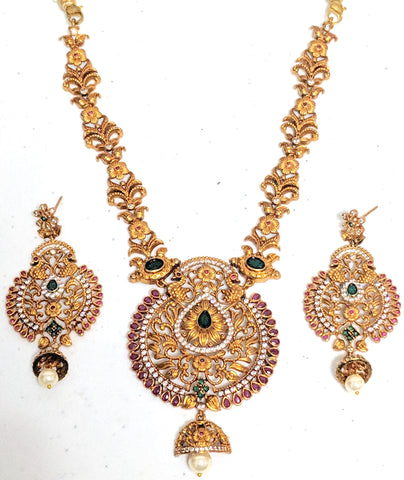 Traditional Matte gold finish dual Peacock ramleela Pendant choker Necklace and Earring set