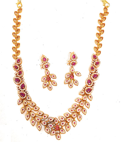 Traditional Gold Matte finish leafy choker Necklace and stud Earring set with CZ stones
