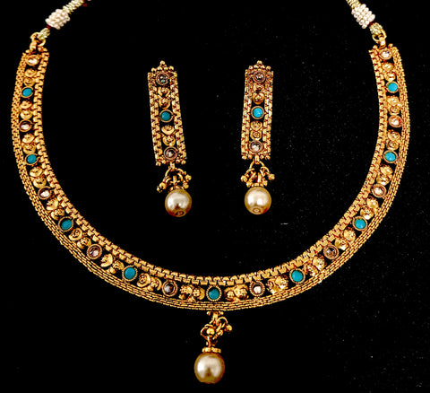Simple Gold Imitation Choker Necklace And Earring Set Simpliful