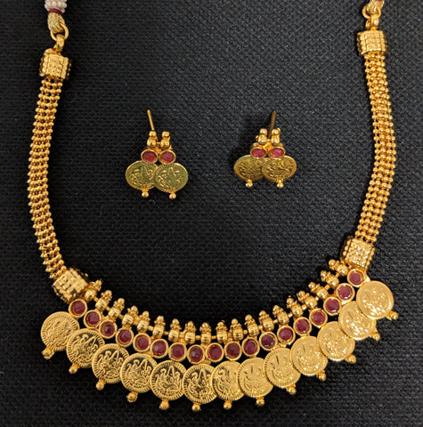 Traditional Goddess Lakshmi Choker Necklace and Earring set