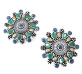 German silver colorful stone embedded large stud Earring