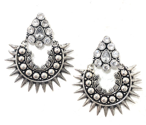 Oxidized spiked chandelier white stone earring