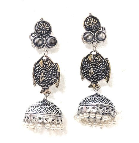 Oxidized dual tone fish jhumka earring