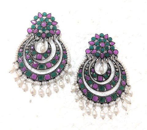 Oxidized large multi arc chandelier style polki stone earring