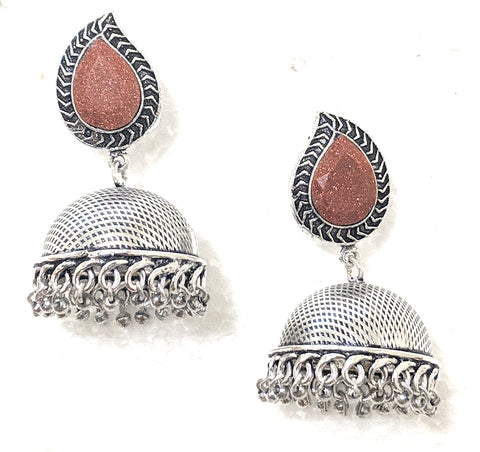 Oxidized mango stud with etched jhumka earring