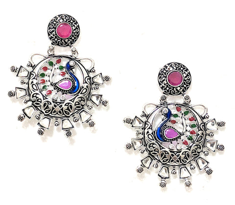 Oxidized colorful Peacock ramleela style earring