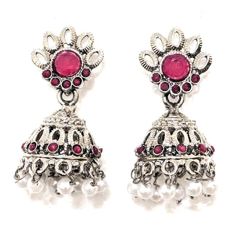 Oxidized  matte finish jhumka Earring with pearl beads