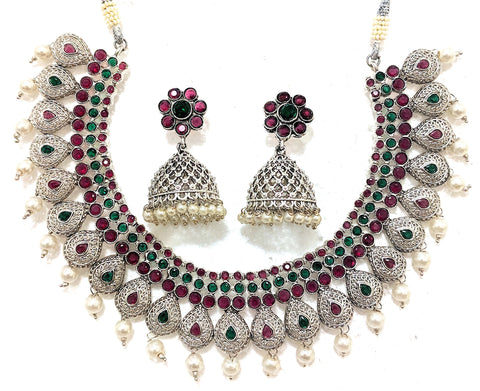 Oxidized matte silver finish Choker Necklace and Jhumka Earring set