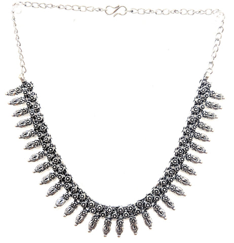 Oxidized spike choker necklace