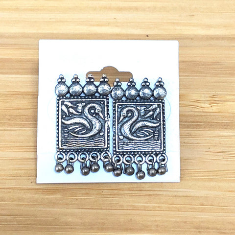 German silver Peacock rectangle stud