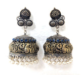 Dual tone Oxidized silver n gold finish 3 circle stud medium  jhumka Earring