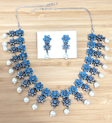 Oxidized light blue stone flower choker Necklace and Stud Earring set
