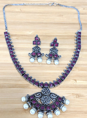 Oxidized Adigai style square ruby stone choker Necklace and Stud Earring set