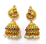 Traditional antique gold peacock stud with cone jhumka earring
