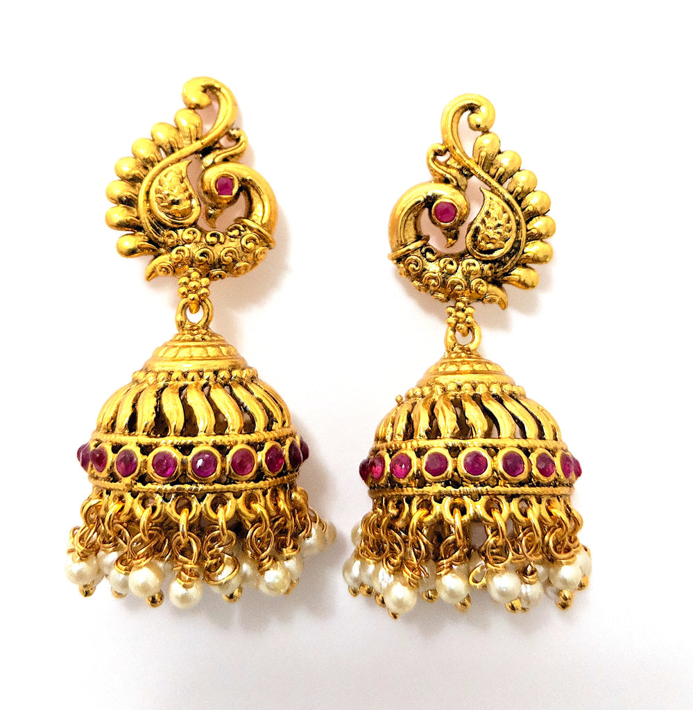 cb403f5e6d729 Traditional antique gold peacock stud with cone jhumka earring