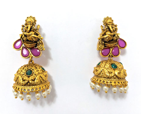 Traditional Lord Ganesha stud with etched jhumka earring