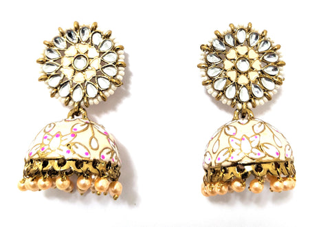 Mini seed bead surrounded kundan like stone stud with enamel work jhumka earring