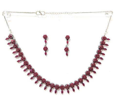 Oxidized Ruby flower choker necklace with stud earring set