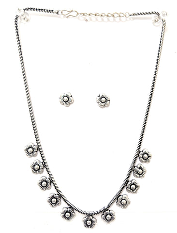 Oxidized flower charm chain necklace with small stud earring set