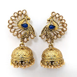 Antique gold finish peacock stud jhumka earring - Simpliful