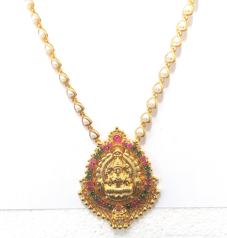Micro Gold polished Goddess Lakshmi Pendant with pearl heart Necklace